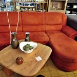 Wohnlandschaft Couch Stoff rot