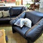 Couch Sofa 2er Sessel Leder schwarz