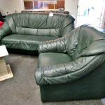 Couch Sofa 3er 2er Leder grün