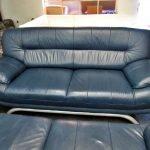 Couch Sofa 2er modern Leder blau