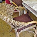Essgruppe Shabby Vintage Korbstuhl