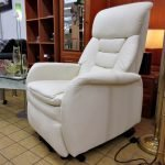 Fernsehsessel Aufstehhilfe Massage Kunstleder weiss