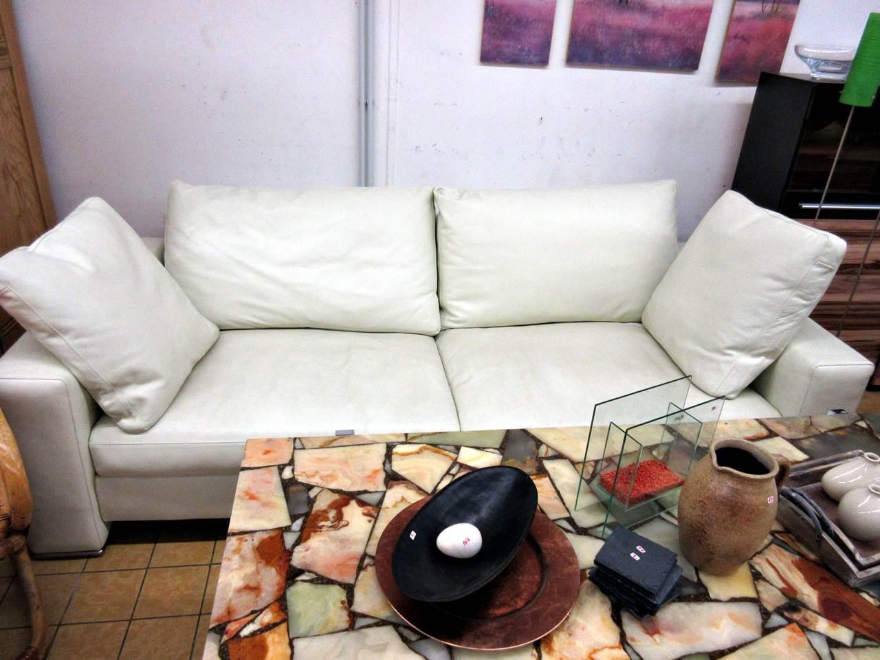 Sofa Camerich Leder cremeweiss