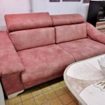 Sofa breit Stoff terracotta