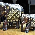 Elefant Holz bemalt Familie