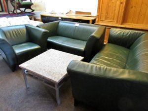 Couchgarnitur Leder dunkelgrün