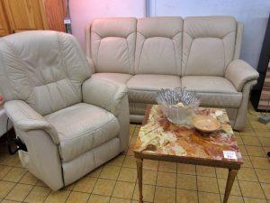 Couchgarnitur mit Fernsehsessel Leder Creme