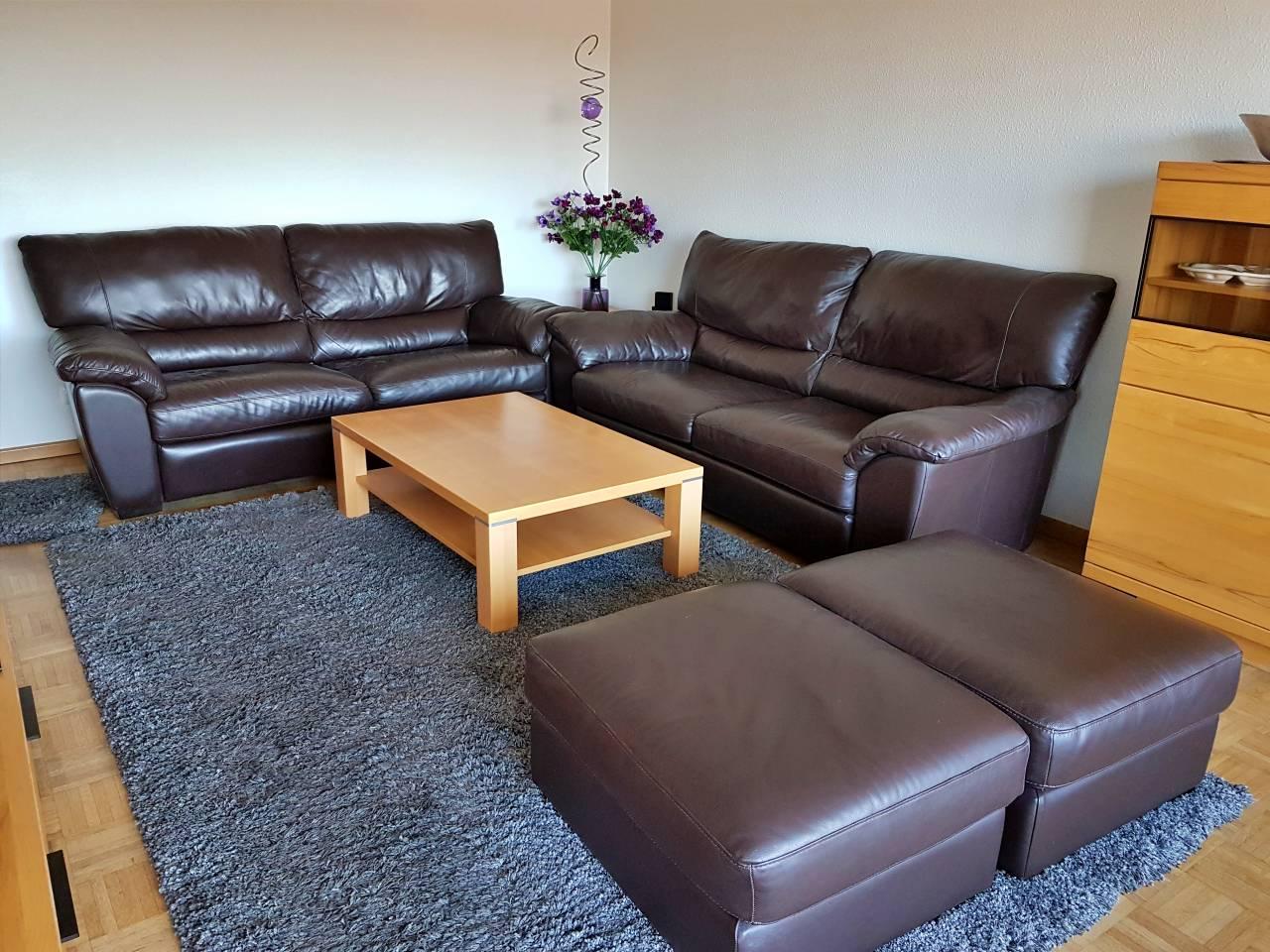 Couch Italsofa Zweisitzer Hocker Leder braun