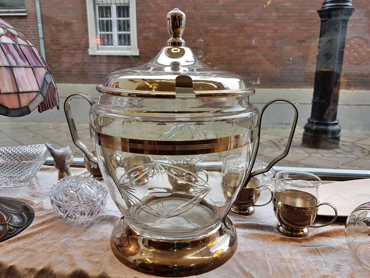 Dekoration schöner Wohnen Bowle Set Glas / silber 50er Jahre