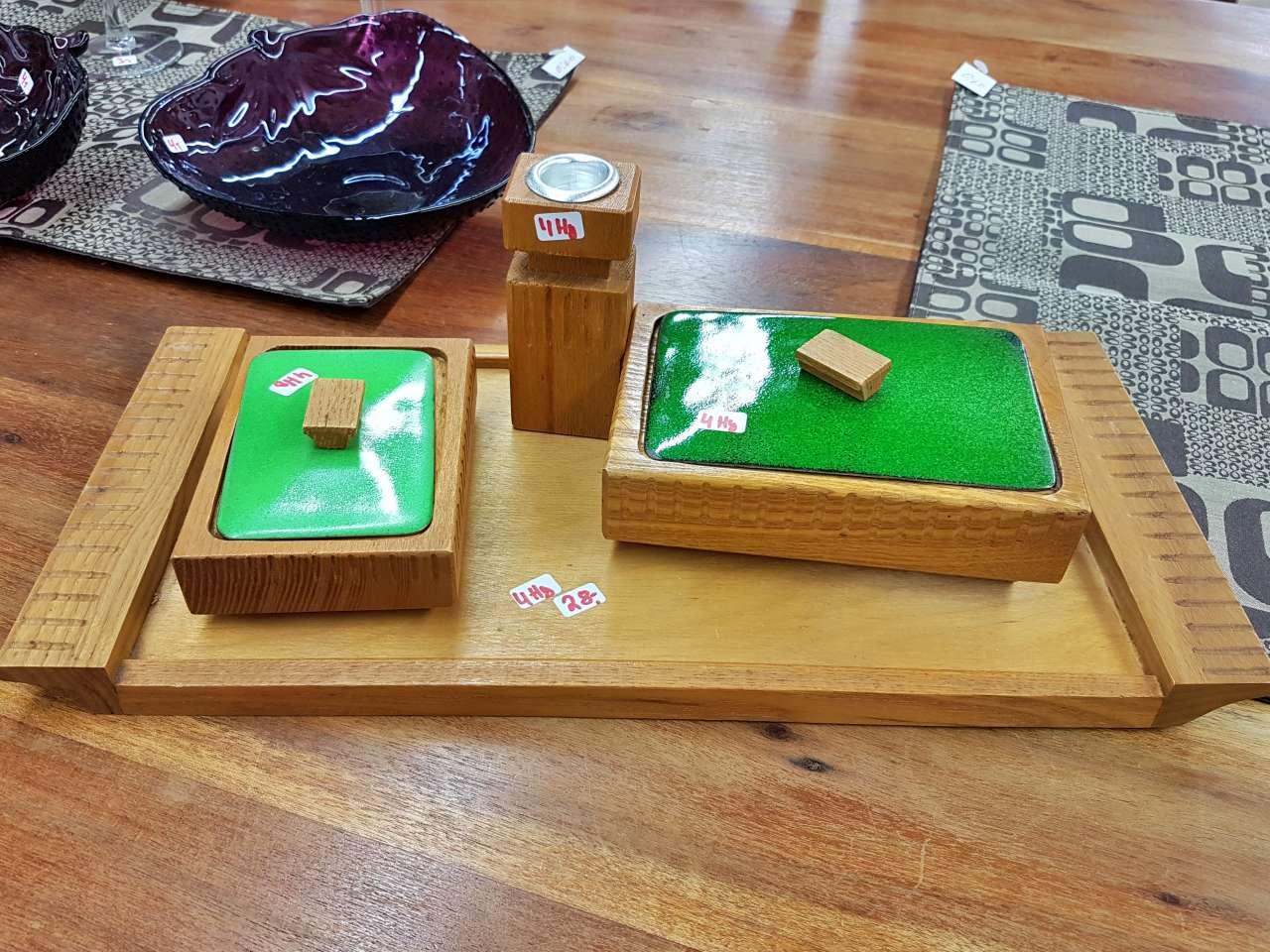 Dekoration schöner Wohnen Tischset Holz / grün 60er Jahre