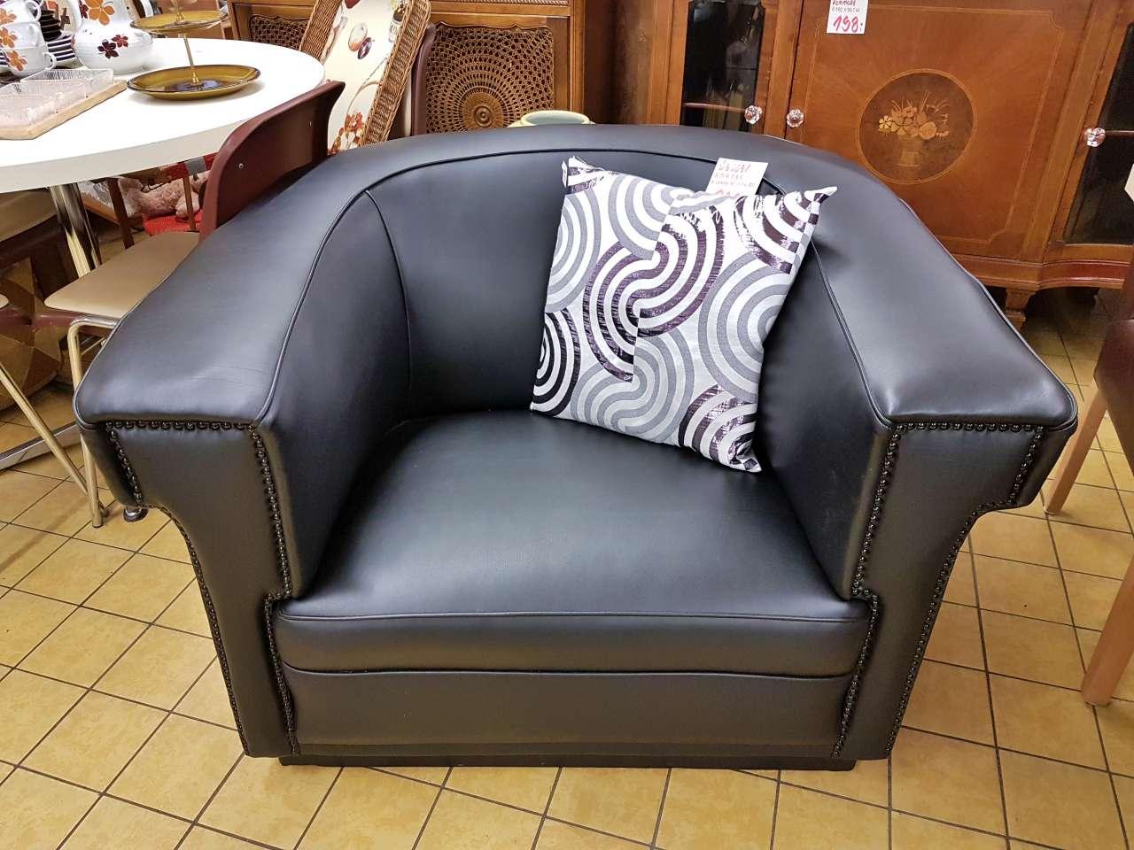 Wohnmöbel Sessel Kunstleder schwarz neu bezogen