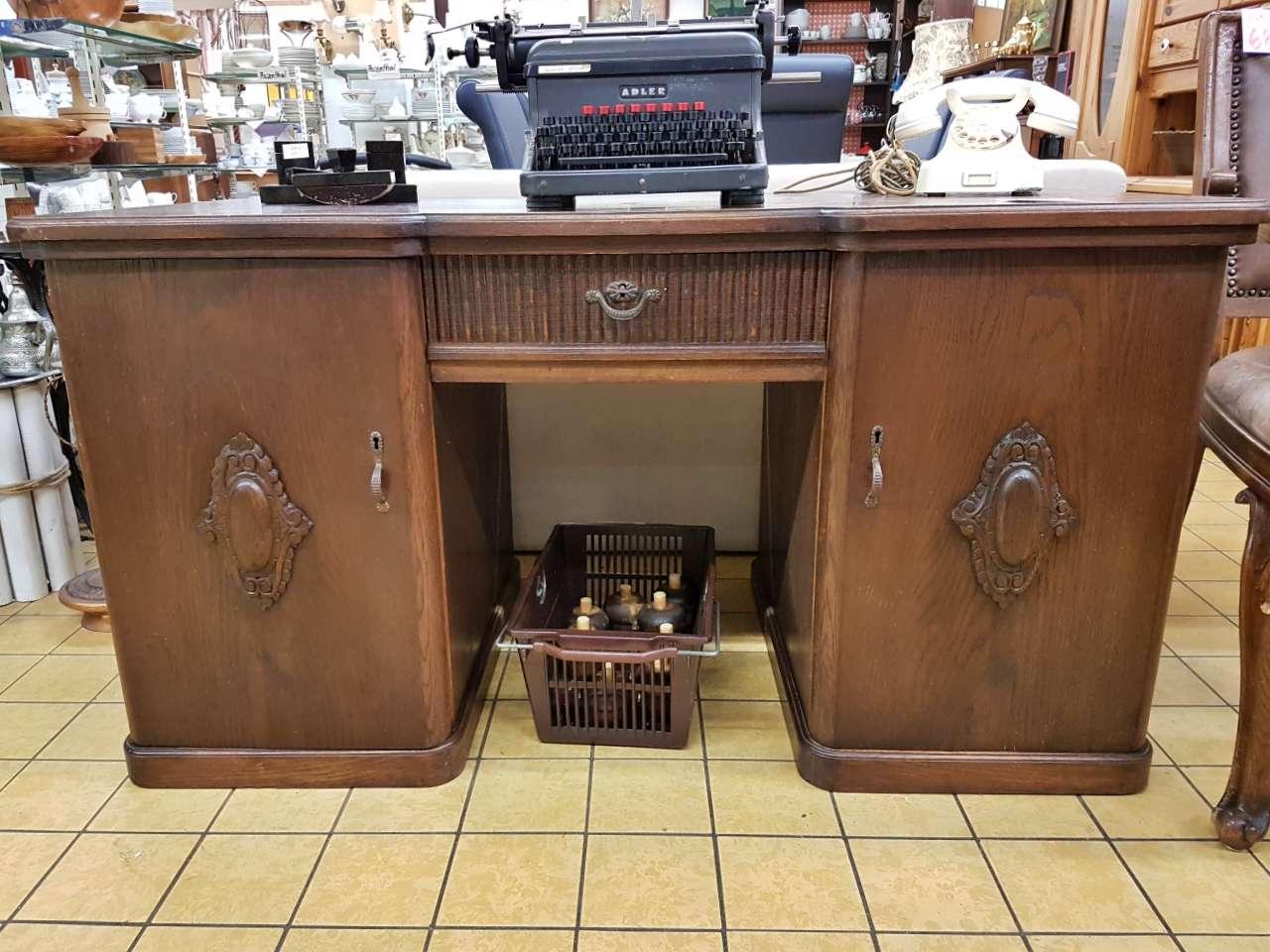 Wohnmöbel Schreibtisch Eiche dunkel antik