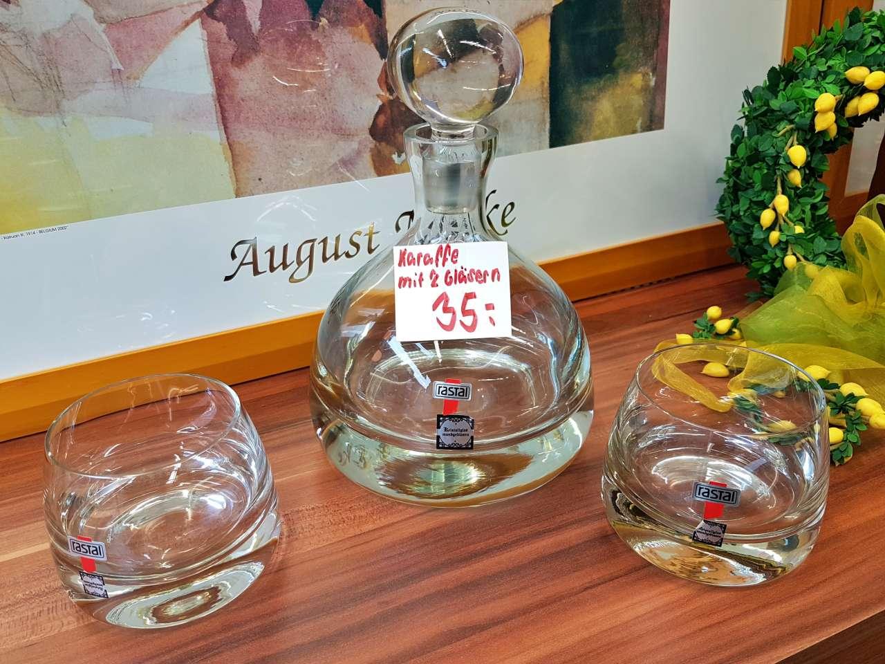 Dekoration Karaffe Gläser Kristallglas rastal