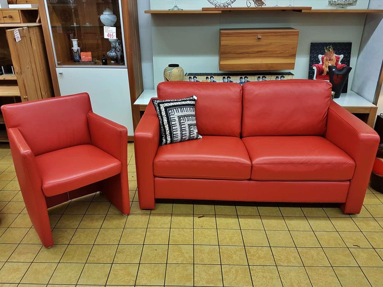 Möbel Sofa mit Sessel W. Schillig Leder rot