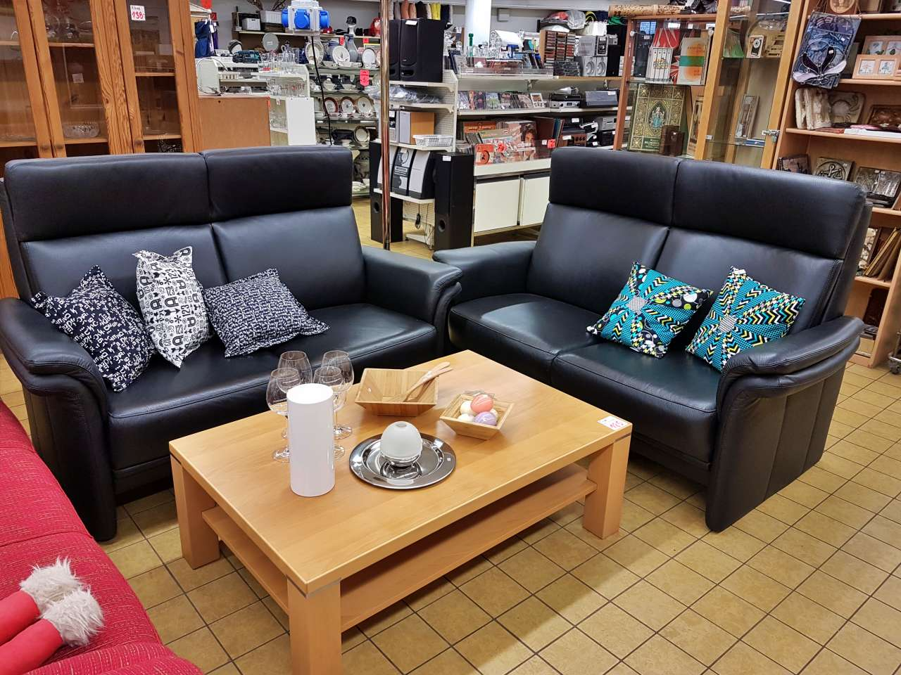Möbel Sofa Zweisitzer Leder schwarz