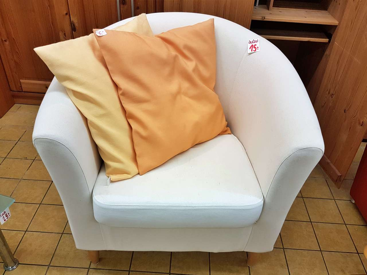 Möbel Sessel Stoff weiss