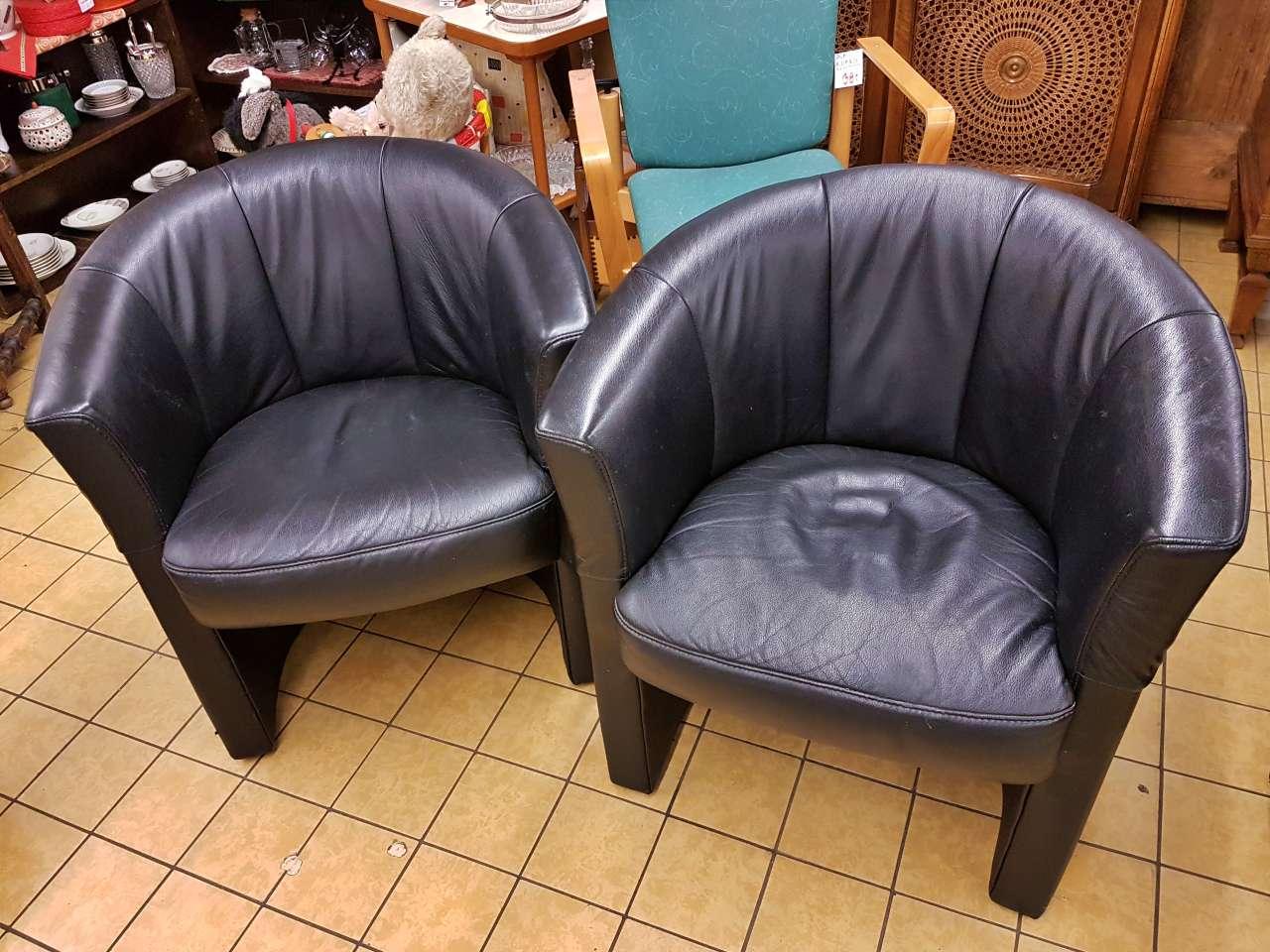 Möbel Sessel Leder schwarz