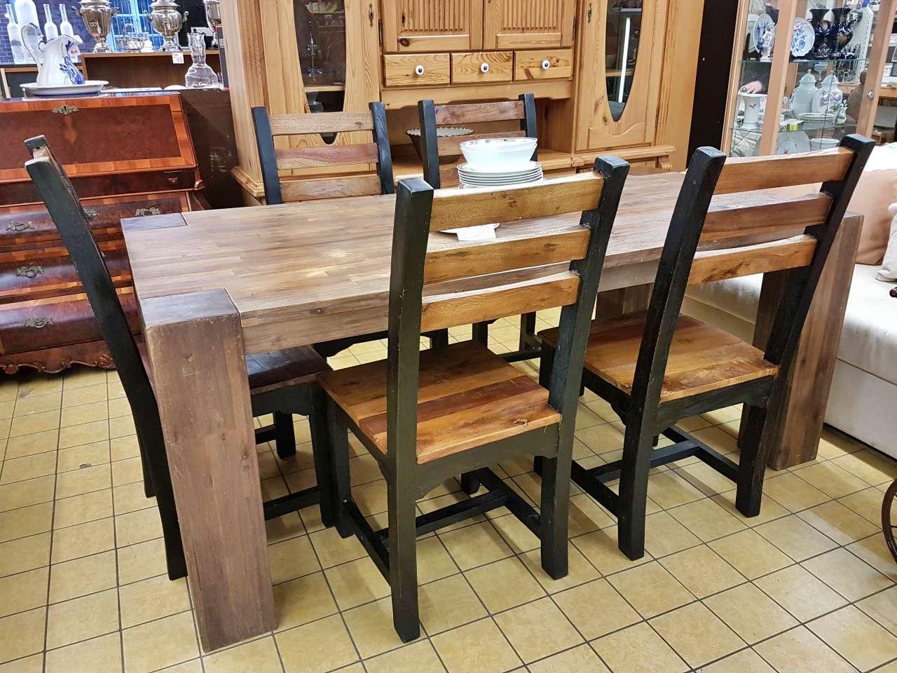 Möbel Essgruppe mit 5 Stühlen Holz rustikal