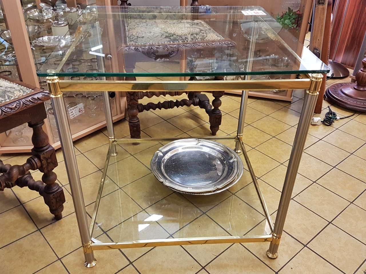 Möbel Wohnzimmertisch Beistelltisch Glas Messing