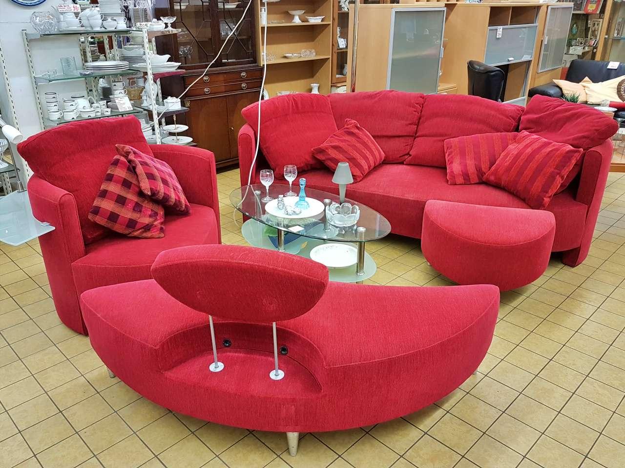 Sitzgarnitur Wohnlandschaft stylisch rot Stoff
