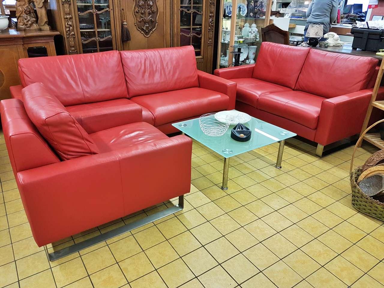 Sitzgarnitur Wohnlandschaft 2-Sitzer und Sessel rot Leder