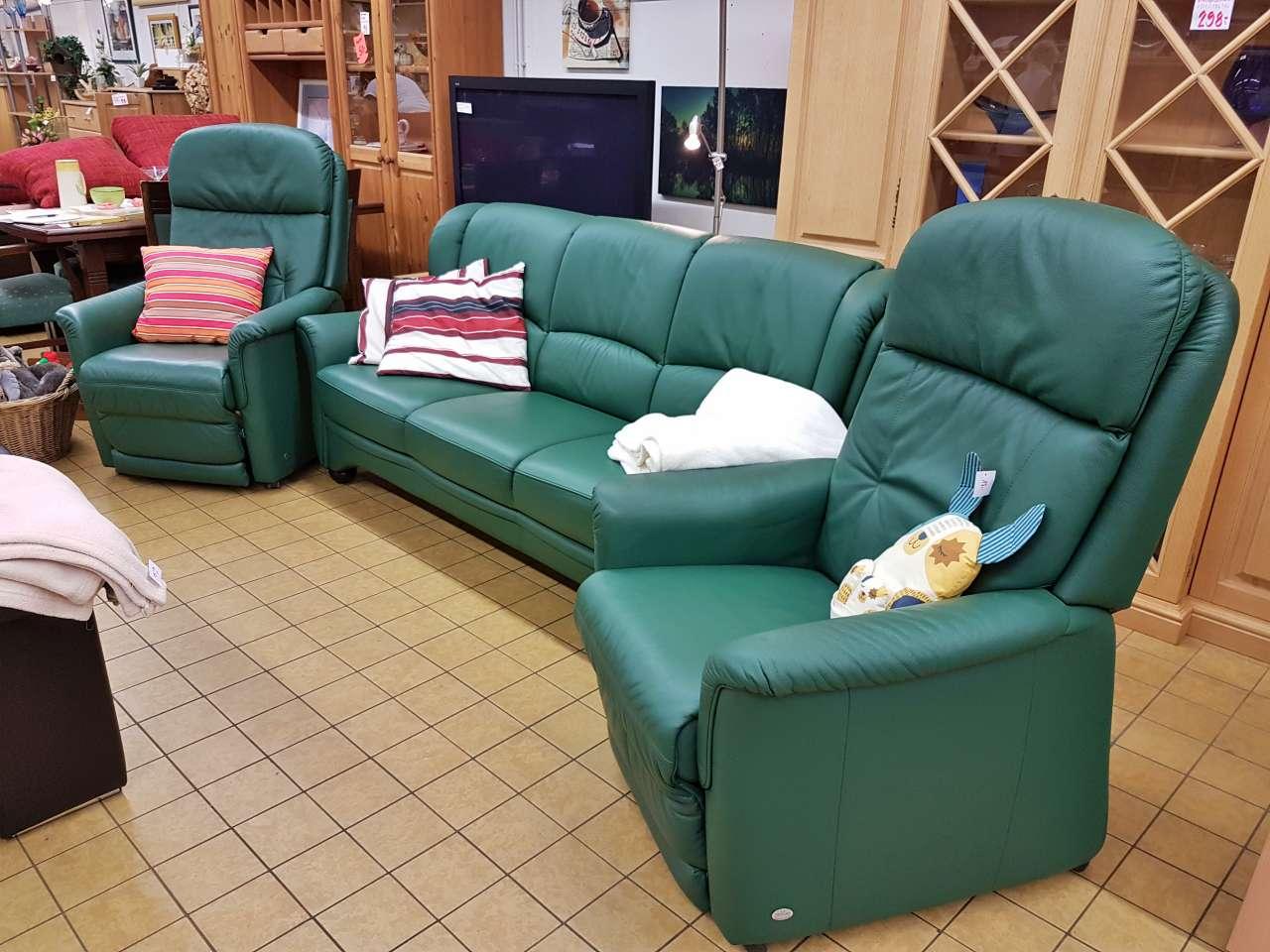 Sitzgarnitur 3-Sitzer und Fernsehsessel mit Aufstehhilfe Himolla grün Leder