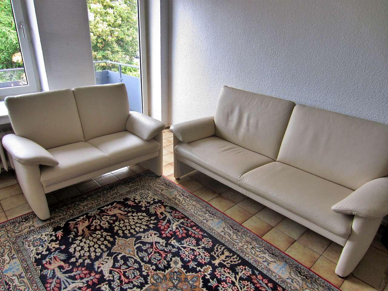 Couchgarnitur Sofa 3er 2er Leder weiss