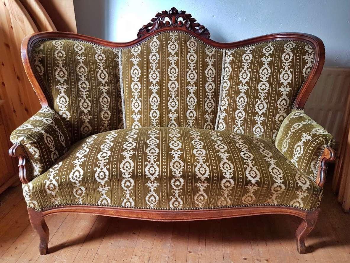 Sofa Biedermeier neu bezogen antik