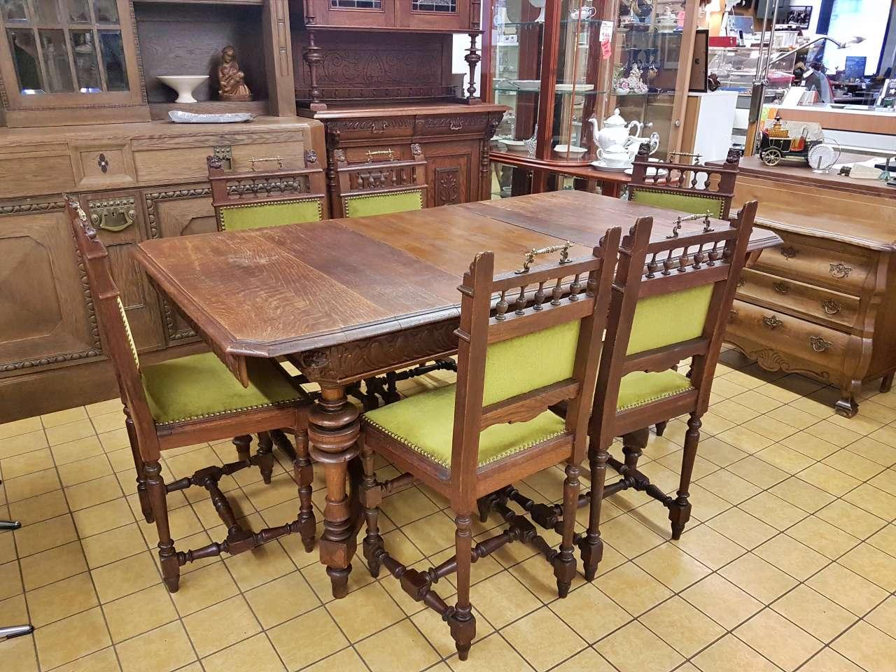 Esstisch verlängerbar mit 6 Stühlen Gründerzeit antik