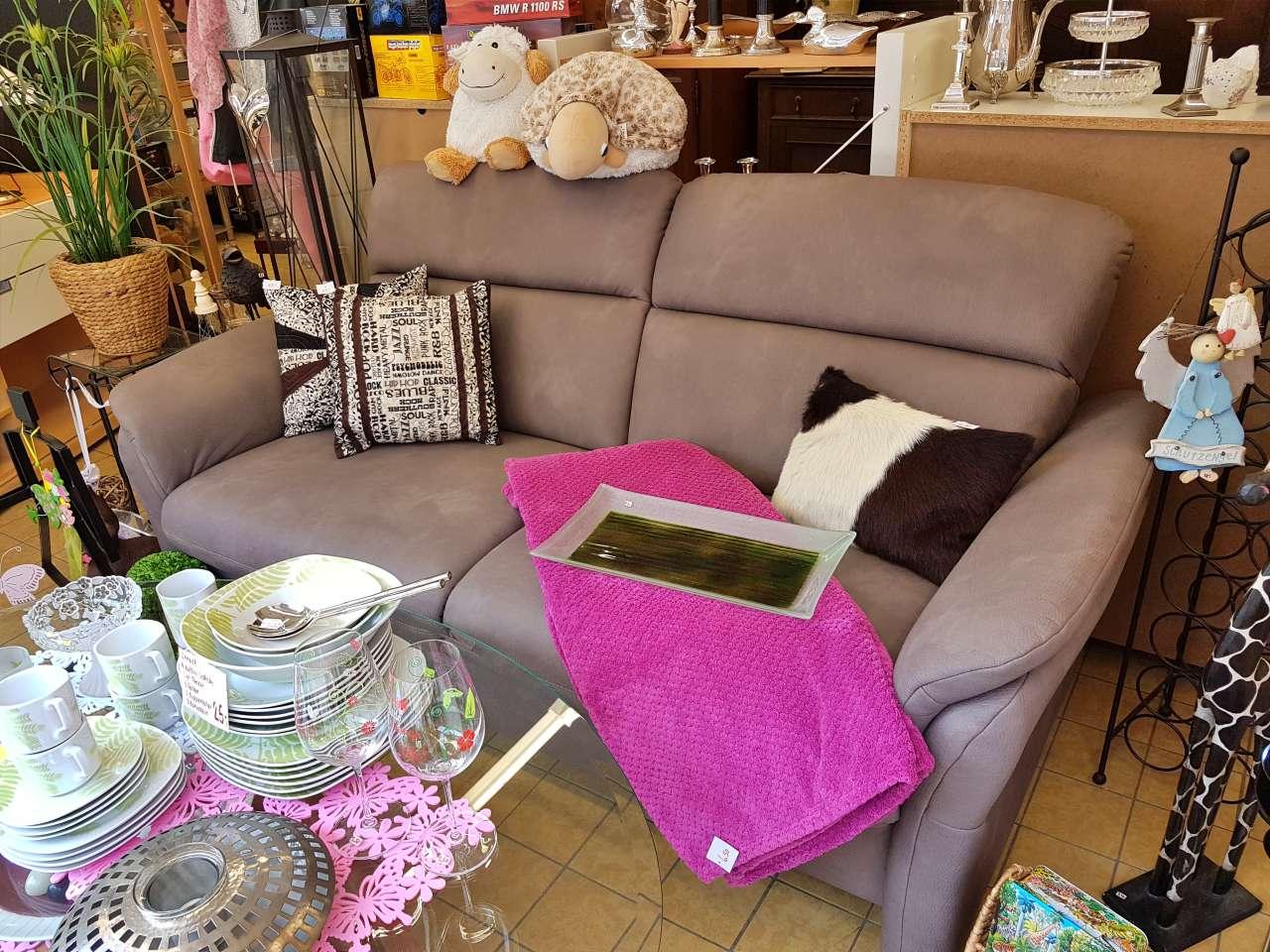 Couch Sofa 2er Stoff Velourlederoptik braun