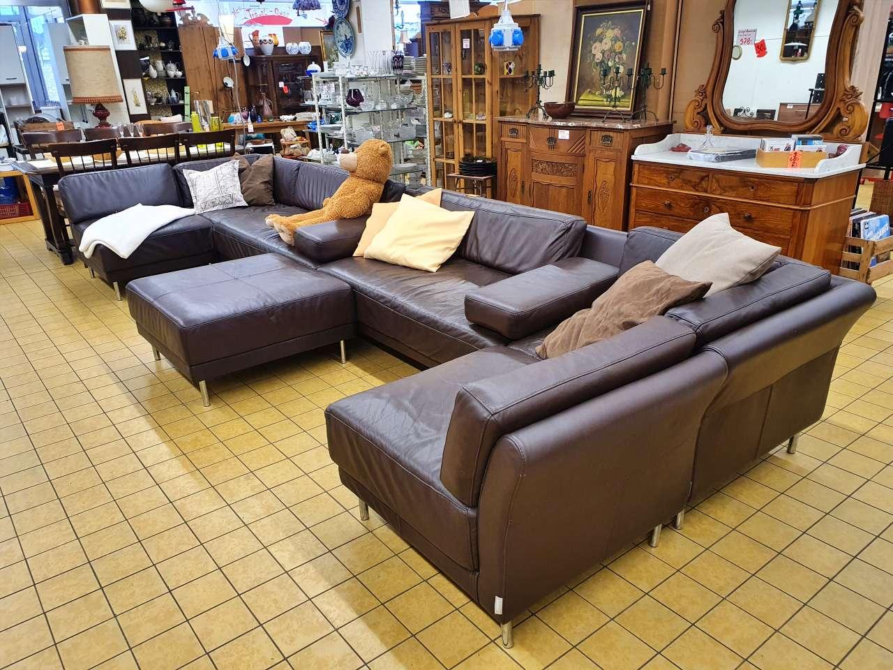 Wohnlandschaft Couch XXL Habitat Leder braun