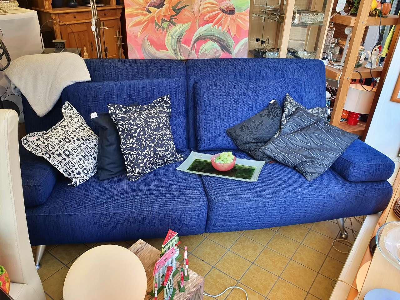 Sofa Schlafcouch Musterring Stoff blau