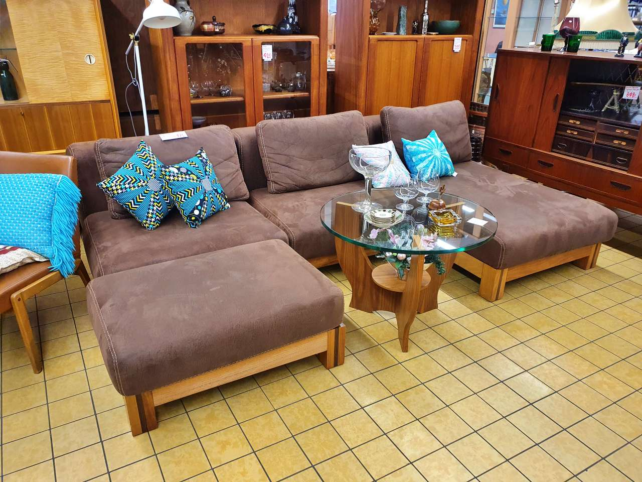 Wohnlandschaft Sofa XL Lederoptik braun